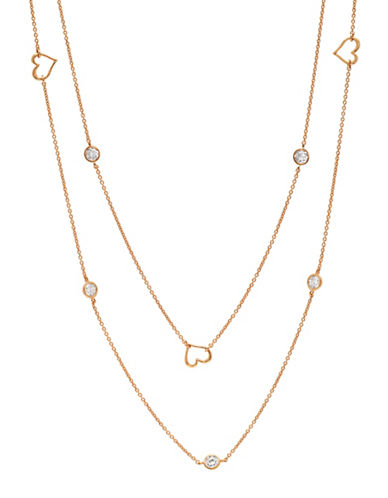Crislu 18K Rose Gold and Sterling Silver Open Heart Long Necklace-ROSE GOLD-One Size