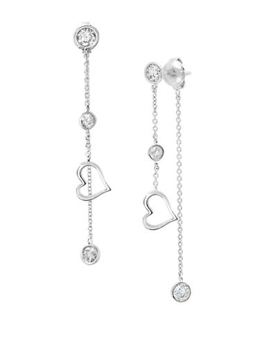 Crislu Platinum and Sterling Silver Open Heart Drop Earrings-SILVER-One Size