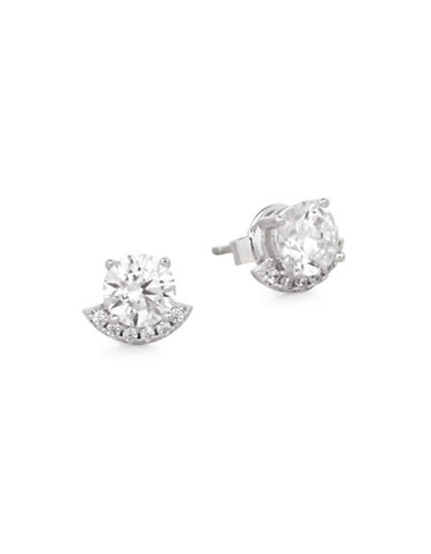 Crislu Baubles on the Bar Cubic Zirconia and Platinum-Finished Sterling Silver Stud Earrings-SILVER-One Size