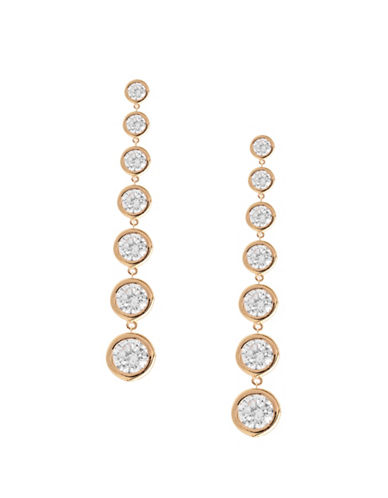 Crislu Classic Core Crystal, Platinum and Sterling Silver Bezel Set Drop Earrings-ROSE GOLD-One Size