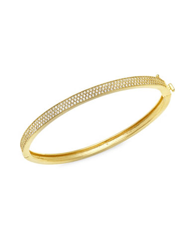 Crislu 18K Rose Gold and Sterling Silver Pave Bangle Bracelet-GOLD-One Size
