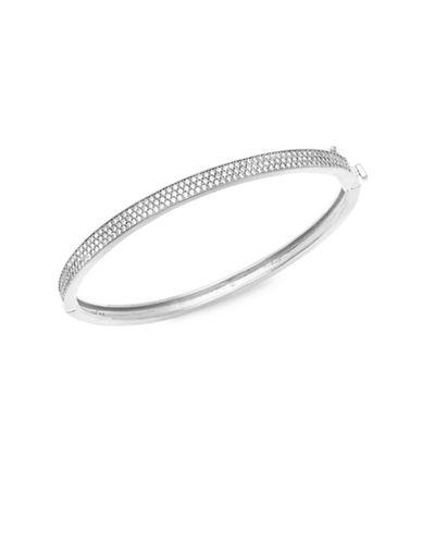 Crislu Platinum and Sterling Silver Pave Bangle Bracelet-SILVER-One Size