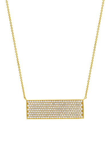 Crislu 18K Rose Gold and Sterling Silver Pave Bar Necklace-GOLD-One Size
