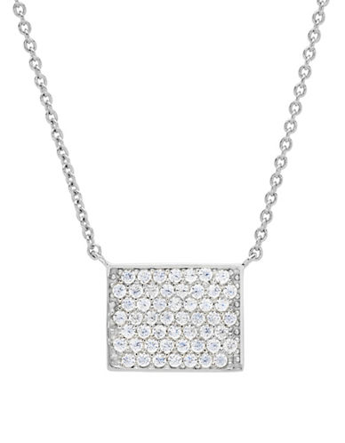 Crislu Platinum and Sterling Silver Petite Pave Necklace-SILVER-One Size