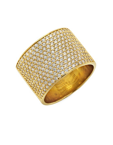 Crislu 18K Rose Gold and Sterling Silver Pave Band Ring-GOLD-7