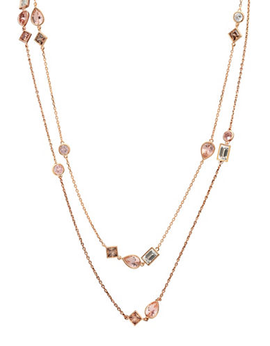 Crislu Blush 18K Rose Goldplated Sterling Silver Two-Row Necklace-ROSE GOLD-One Size