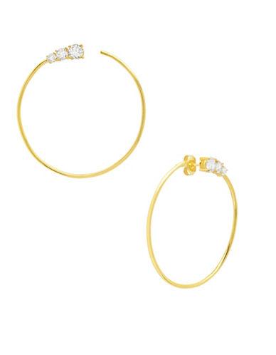 Crislu Eternity 18K Goldplated Sterling Silver Large Hoop Earrings-GOLD-One Size