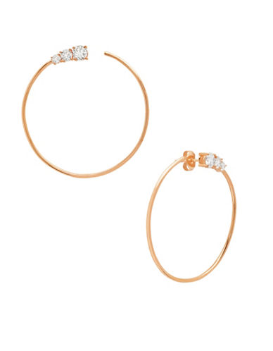 Crislu Eternity 18K Goldplated Sterling Silver Large Hoop Earrings-ROSE GOLD-One Size