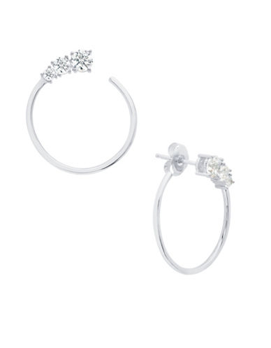 Crislu Eternity 18K Platinum-Plated Sterling Silver Hoop Earrings-SILVER-One Size