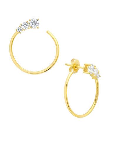 Crislu Eternity 18K Goldplated Sterling Silver Hoop Earrings-GOLD-One Size
