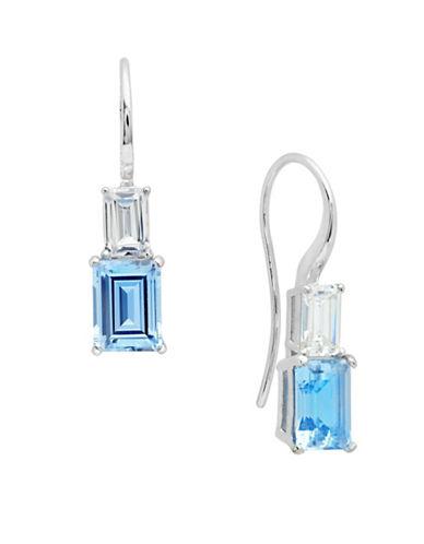 Crislu Jubilee Emerald Cut Aquamarine Drop Earrings-BLUE-One Size