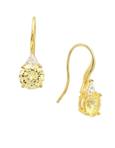 Crislu Jubilee Brilliant Cut Canary Drop Earrings-YELLOW-One Size