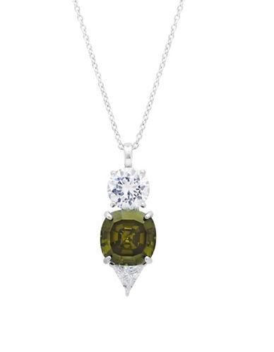Crislu Jubilee Sterling Silver Necklace-GREEN-One Size