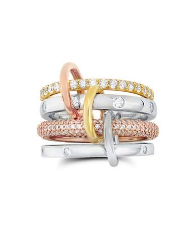 Crislu Interlocking Four Pave Ring-SILVER-One Size