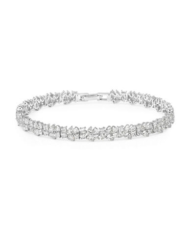 Crislu Celebration Crystal and Sterling Silver Multi-Cluster Tennis Bracelet-SILVER-One Size