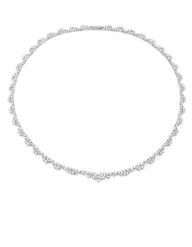 Crislu Sterling Silver Floral Tennis Necklace-SILVER-One Size
