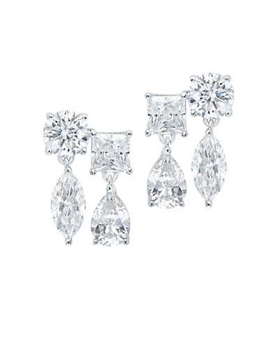 Crislu Sterling Silver Double Drop Earrings-SILVER-One Size