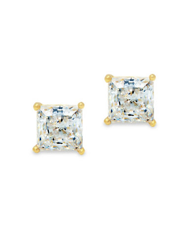 Crislu Classic Core Crystal, Platinum and Sterling Silver Solitaire Princess Earrings-GOLD-One Size