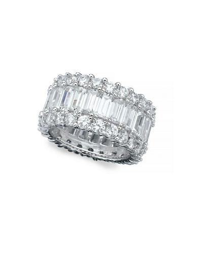 Crislu Baguette EternitySterling Silver Ring-SILVER-7