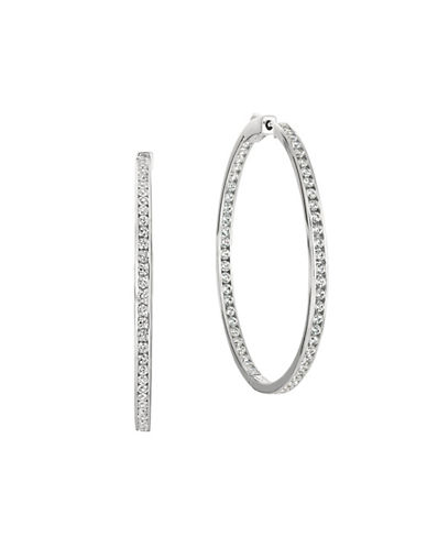 Crislu Brilliant Cubic Zirconia Hoop Earrings-SILVER-One Size