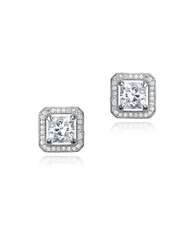 Crislu Classic Core Crystal, Platinum and Sterling Silver Princess Cut Earrings-SILVER-One Size