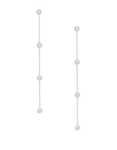 Crislu Linear Crystal Drop Earrings-SILVER-One Size