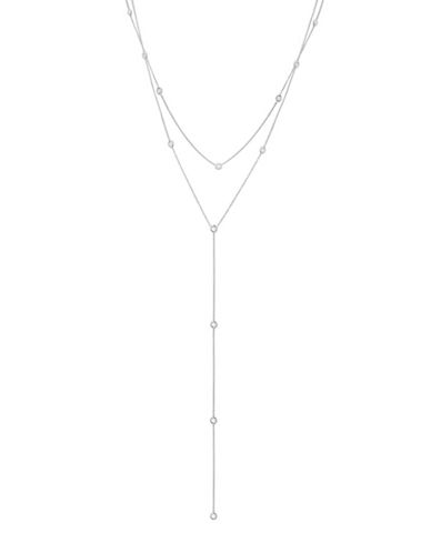 Crislu Crystal Lariat Necklace-SILVER-One Size