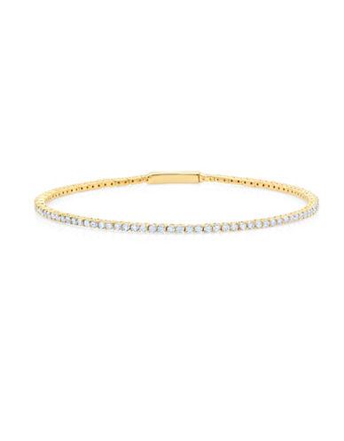Crislu Crystal Tennis Flex Bangle-GOLD-One Size
