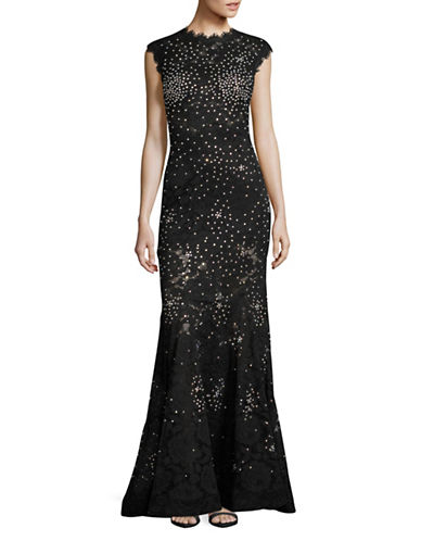 Betsy & Adam Sheer Bodice Lace Gown-BLACK-0