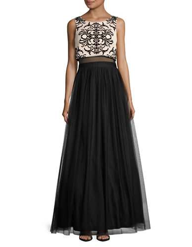 Betsy & Adam Flocked Damask Popover Mesh Prom Gown-BLACK-12