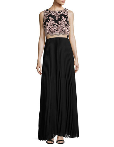 Betsy & Adam Popover Lace Accordion Cut-Out Gown-BLACK-12