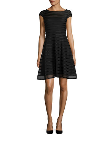 Betsy & Adam Cap-Sleeve Mesh Fit-and-Flare Dress-BLACK-14