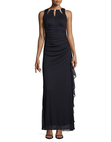 Betsy & Adam Embellished Cut-Out Ruched Gown-BLUE-6
