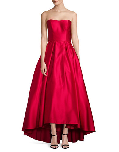 Betsy & Adam Strapless Satin Gown-RED-10