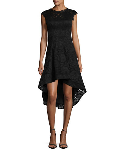 Betsy & Adam Hi-Lo Fit-And-Flare Lace Dress-BLACK-12