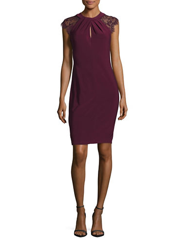 Betsy & Adam Lace Shoulder Sheath Dress-RED-8