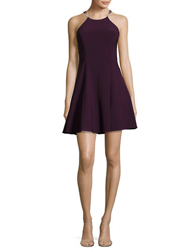 Betsy & Adam Fit-and-Flare Halterneck Cocktail Dress-PURPLE-10