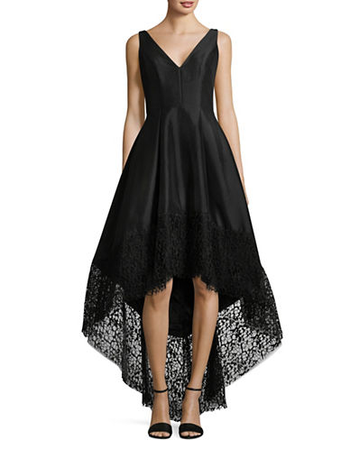 Betsy & Adam Hi-Lo Taffeta Dress-BLACK-14