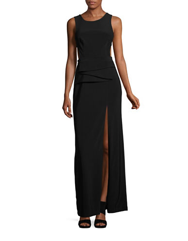 Betsy & Adam Pleated Front Open Back Prom Gown-BLACK-10