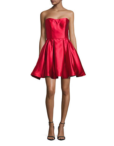 Betsy & Adam Short Sweetheart Strapless Prom Dress-RED-2