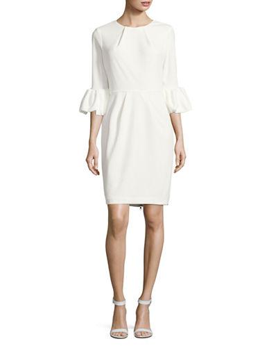 Betsy & Adam Blouson Sleeves Sheath Dress-WHITE-12