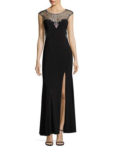 Betsy & Adam Beaded Illusion Sheath Gown-BLACK-2