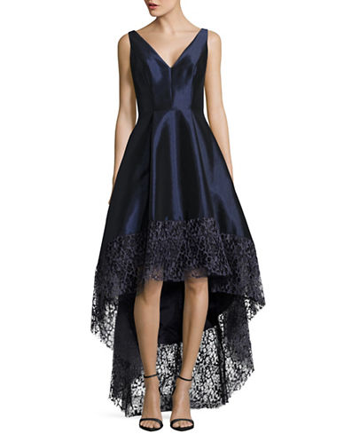 Betsy & Adam Taffeta and Lace Fit-and-Flare Dress-BLUE-8