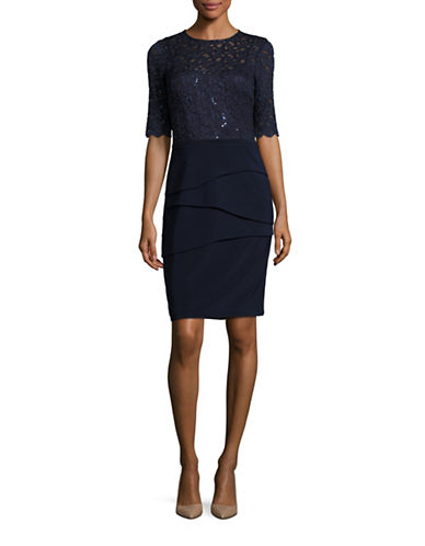 Betsy & Adam Lace Bodice Shift Dress-BLUE-14