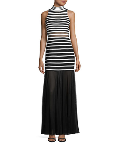 Betsy & Adam Illusion Stripe High Neck Gown-BLACK-8