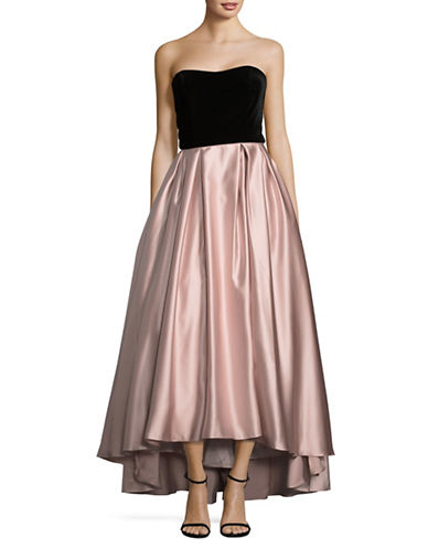 Betsy & Adam Velvet Tube Ball Gown-BLACK/BEIGE-14