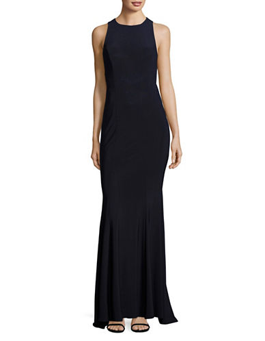 Betsy & Adam Sleeveless Cut-Out Sheath Gown-BLUE-12