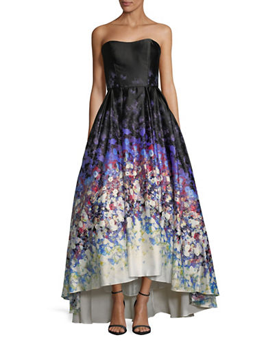 Betsy & Adam Printed Strapless Satin Ball Gown-MULTI-10