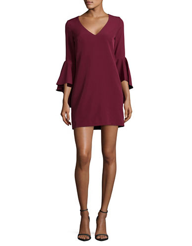 Betsy & Adam Three-Quarter Bell Sleeve Dress-RED-4