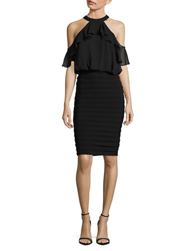 Betsy & Adam Halter-Neck Ruffled Blouson Dress-BLACK-8